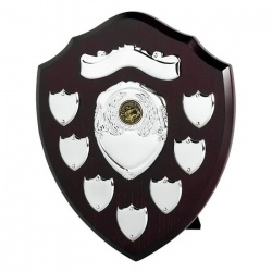 10in Wood Awards Shield with 7 Side Shields