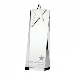 8.5in Star On Crystal Wedge Award