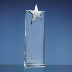 22.5cm Optical Crystal Rectangle with a Silver Star