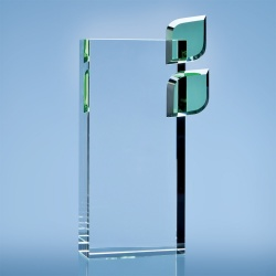 22cm Optical Crystal Eco Excellence Award with Double Green Leaves