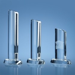 Optical Crystal Oval Column Award with Wavy Top