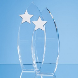 Optical Crystal Arch Award with Silver Star