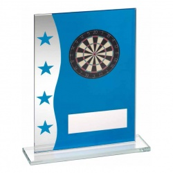 8in Blue & Silver Glass Darts Plaque