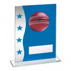 6.5in Cricket Blue & Silver Glass Plaque