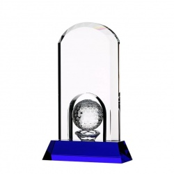 Clear & Blue Crystal Arch Golf Award
