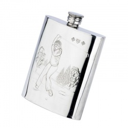 Pewter Golf Flask - Golf Swing
