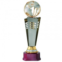 18in Tall Gold Finish Globe Award